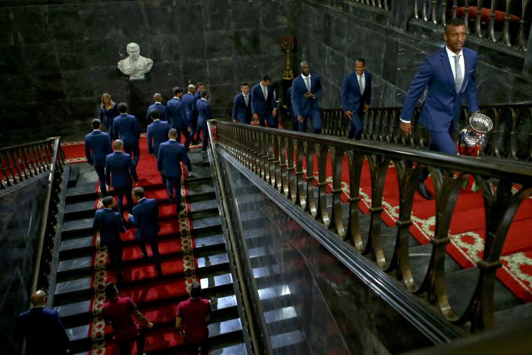 Image: Portugal's national soccer team reveives honour ceremony
