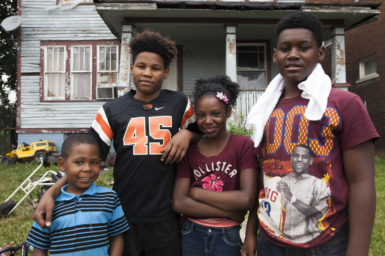 Lashanda Mayberry's children attended a Highland Park, Michigan, charter school, one of the few schools left in the suburb. Mayberry's children, pirctured from right, are Tazeon, 15, Myaira, 11, and Keon, 13. Also pictured here is Mayberry's nephew, Armani, 7.