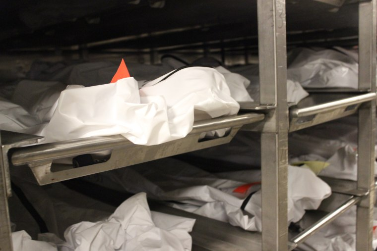 Photos of the morgue where the bodies are kept