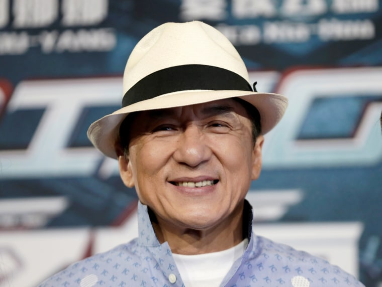 Actor Jackie Chan poses for the cameras at the announcement of the beginning of production for the science fiction action film 'Bleeding Steel.'