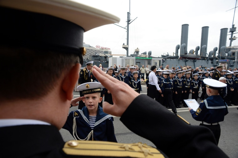 Image: TOPSHOT-RUSSIA-EDUCATION-NAVY-CADETS