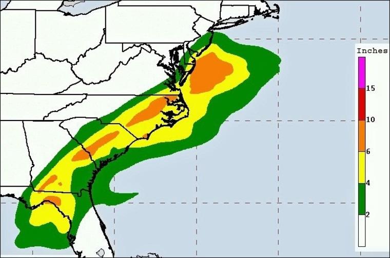IMAGE: Hurricane Hermine three-day rain forecast map