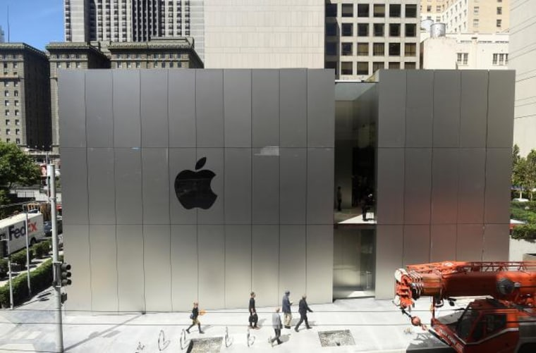An Apple logo adorns the wall of Apple's new retail store in San Francisco