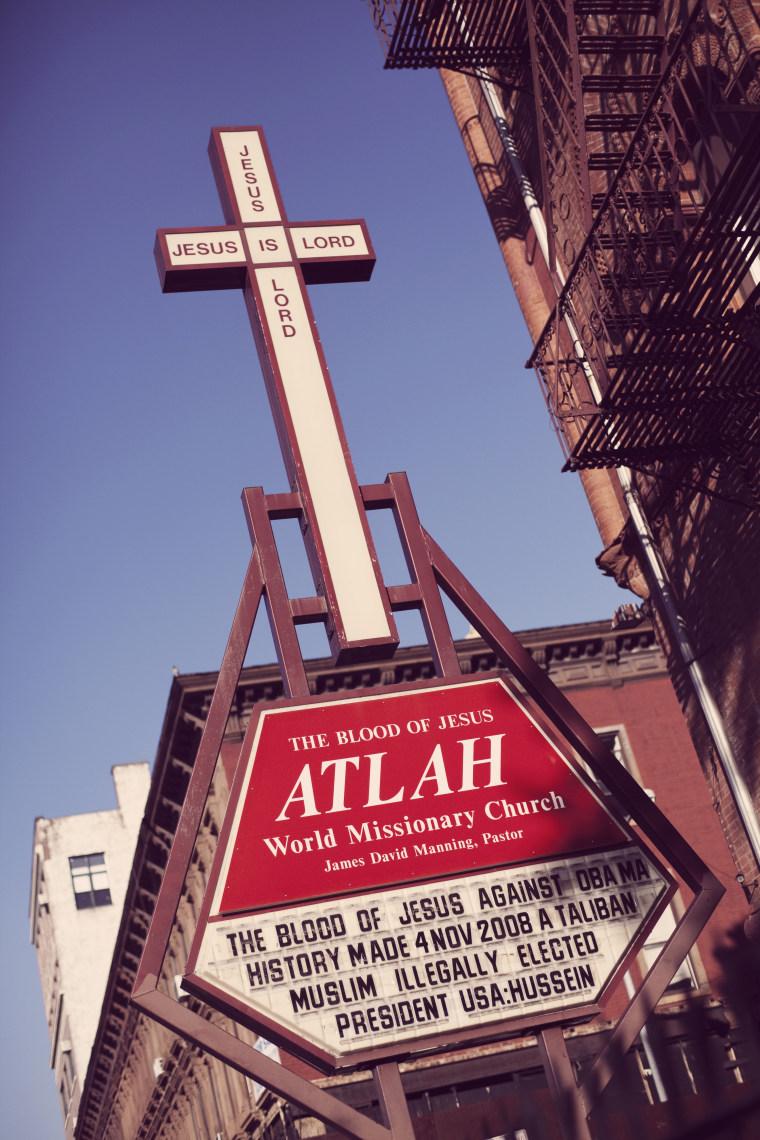 ATLAH World Missionary Church is Christian church in Harlem in New York City. USA 2010.