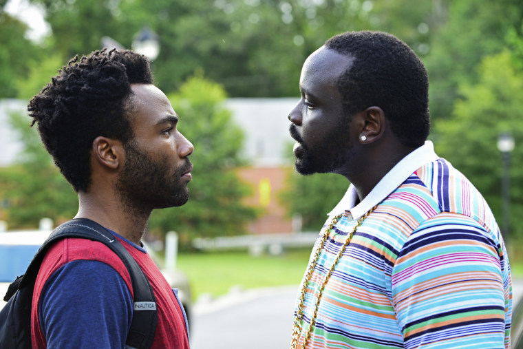 """""""Atlanta"""" Episode """"The Big Bang"""" Pictured: (l-r) Donald Glover as Earnest Marks, Brian Tyree Henry as Alfred Miles."""