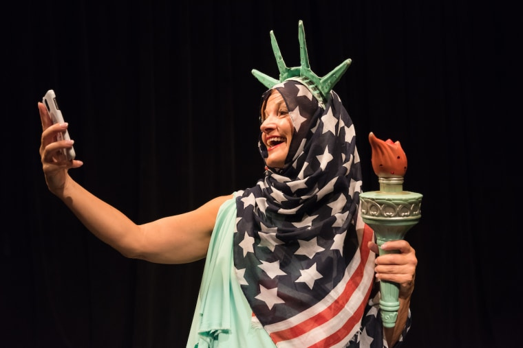Lady Liberty, portrayed by Frances McGarry, for the Lady Liberty Theater Festival