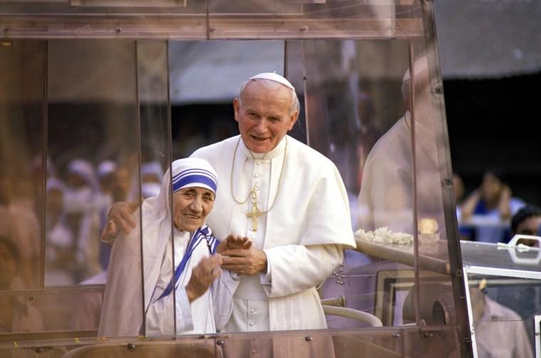 John-Paul Ii And Mother Teresa In Calcutta, India On February 03, 1986.