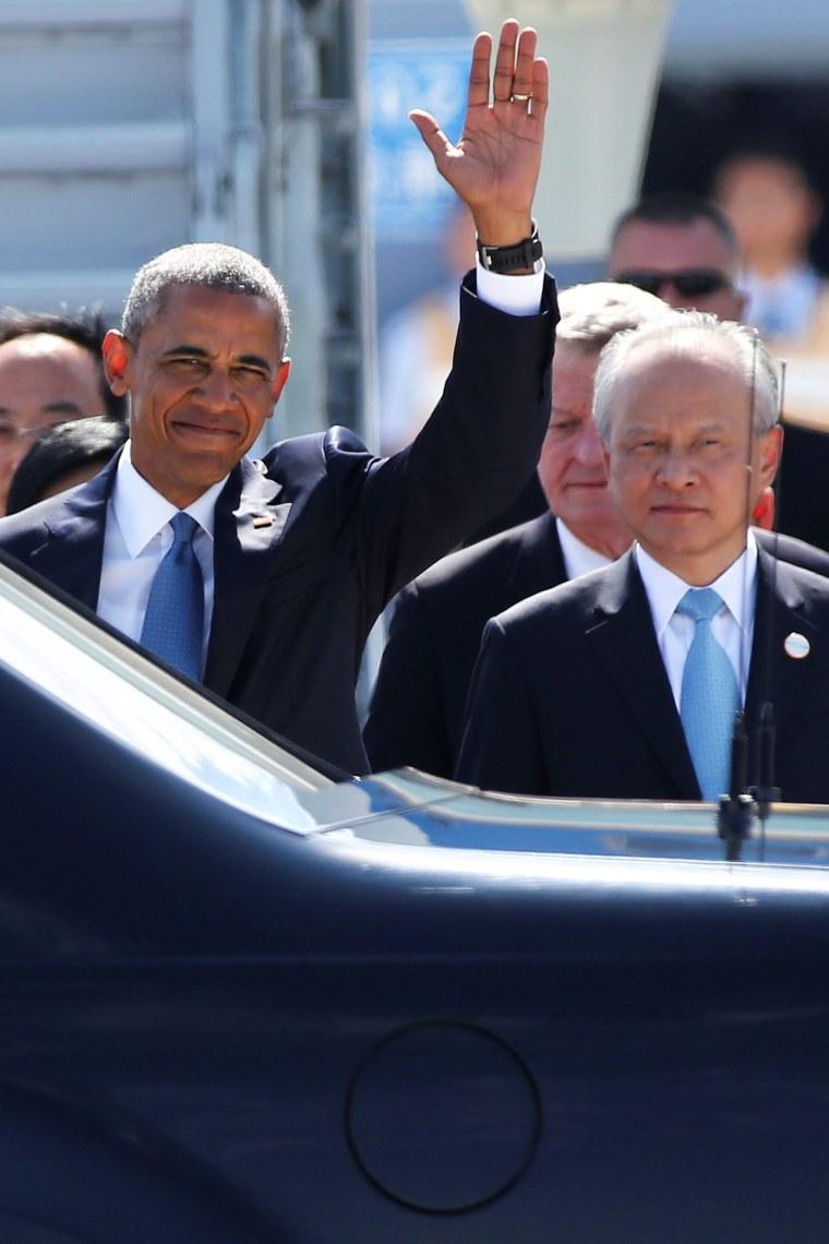 Image: U.S. President Barack Obama arrives for the G20 Summit in Hangzhou