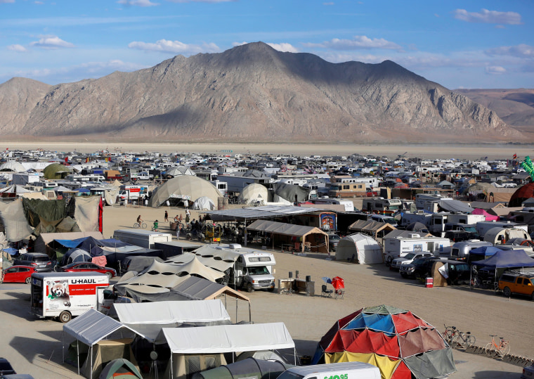 Image: A view of Black Rock City as approximately 70,000 people from all over the world gather for the 30th annual Burning Man arts and music festival in the Black Rock Desert of Nevada, U.S.
