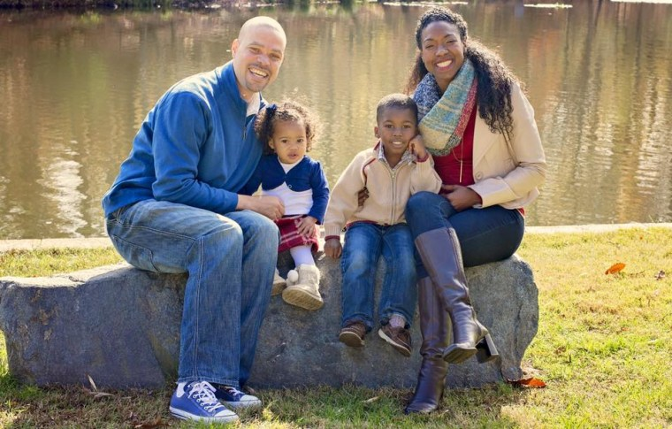 The Wright family: Marcel, Stacia, Jonathan, 5, and Ginneh, 2.