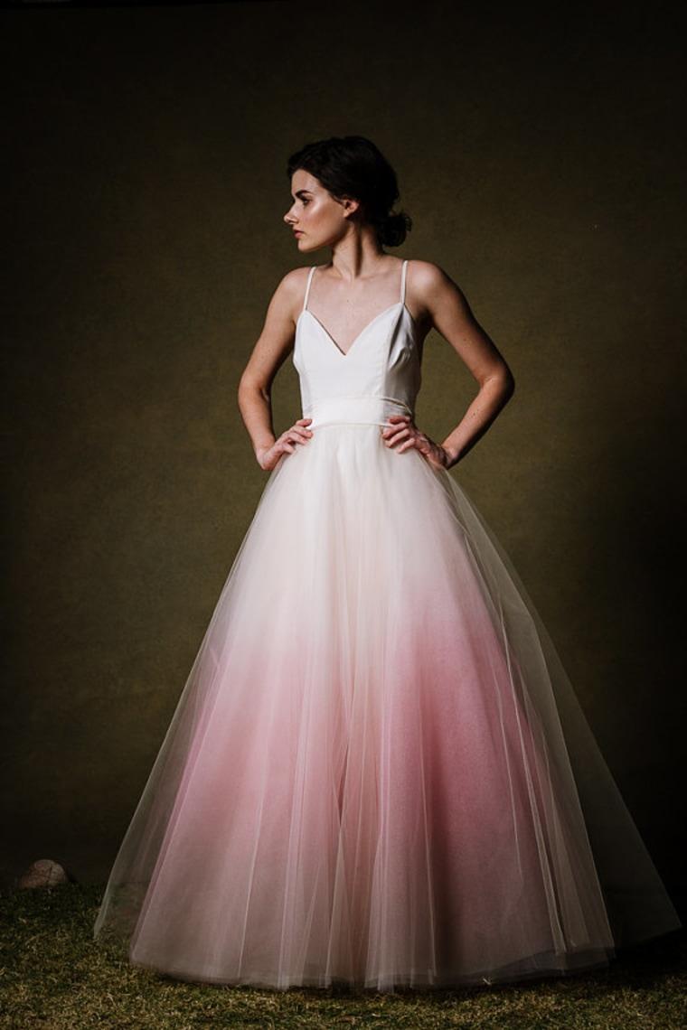 Dip dyed colorful wedding dresses are the new bridal trend for Pink ombre wedding dress