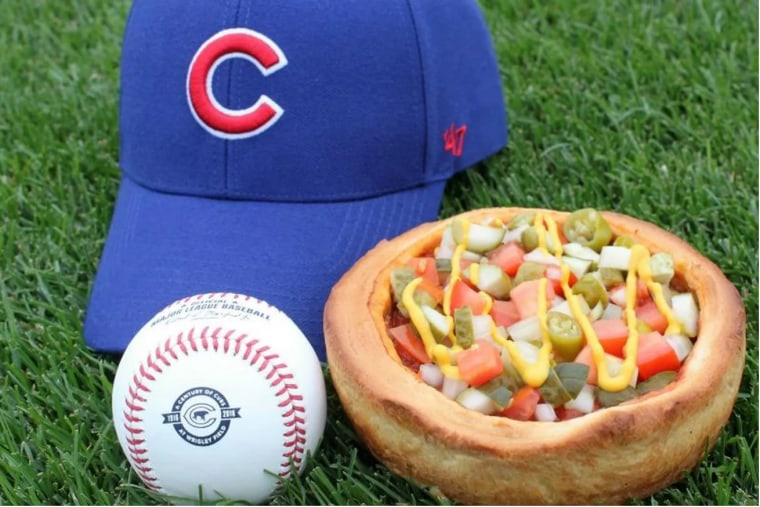 Wrigley Field Chicago-Style Hot Dog Deep Dish Pizza