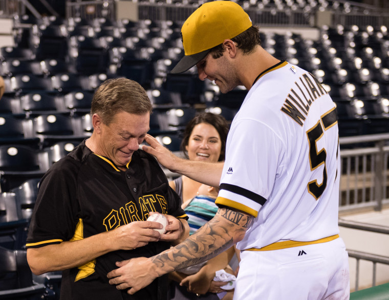 Trevor Williams with his father