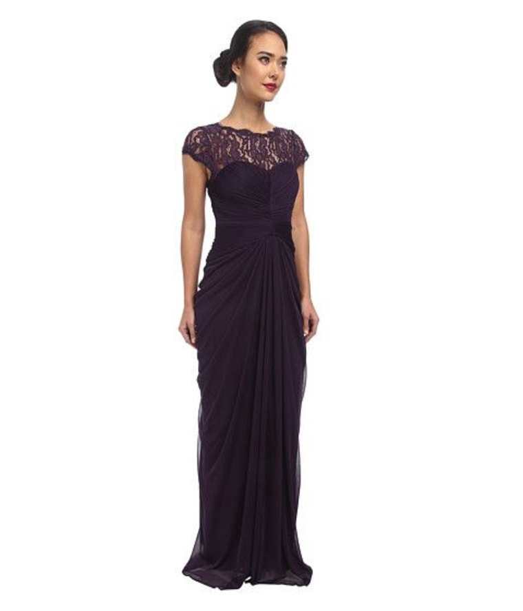 Eggplant lace dress/long lace dress