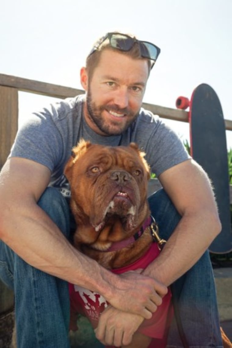 Zach Skow and Hooch the rescue dog