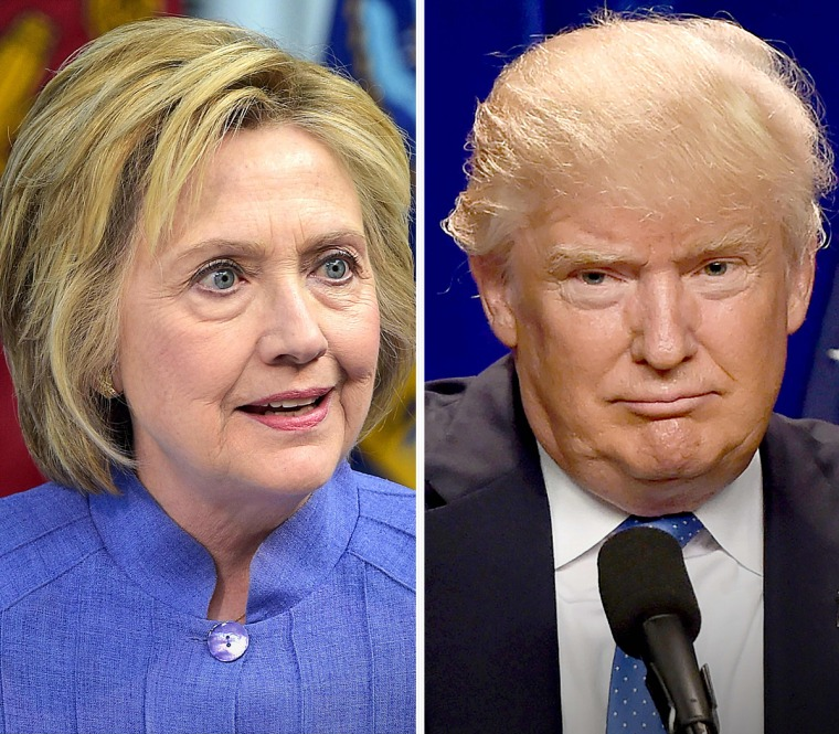This combination of file photos shows Democratic presidential candidate Hillary Clinton on June 15, 2016 and presumptive Republican presidential nominee Donald Trump on June 13, 2016.