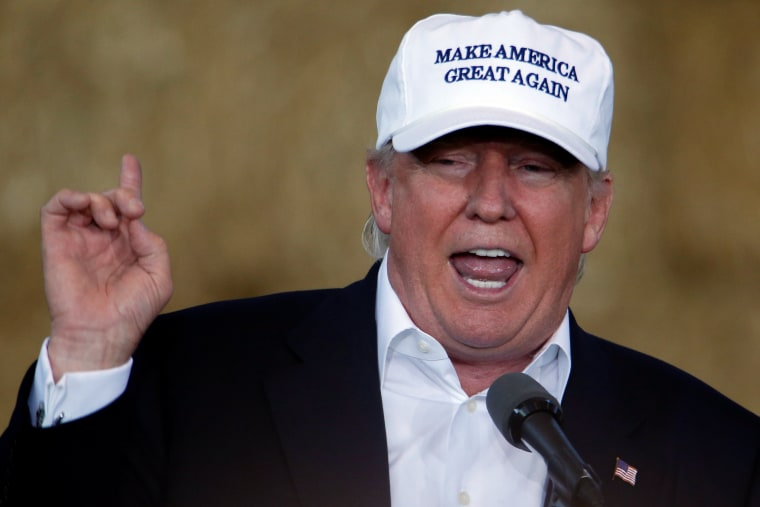 """Image: Republican nominee Donald Trump speaks at \""""Joni's Roast and Ride\"""" in Des Moines"""
