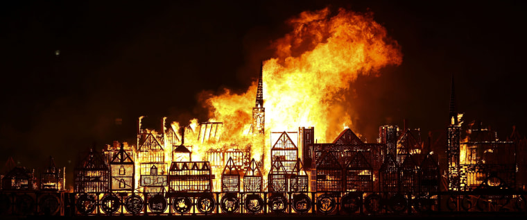 Image: TOPSHOT-BRITAIN-LIFESTYLE-HISTORY-FIRE-ART