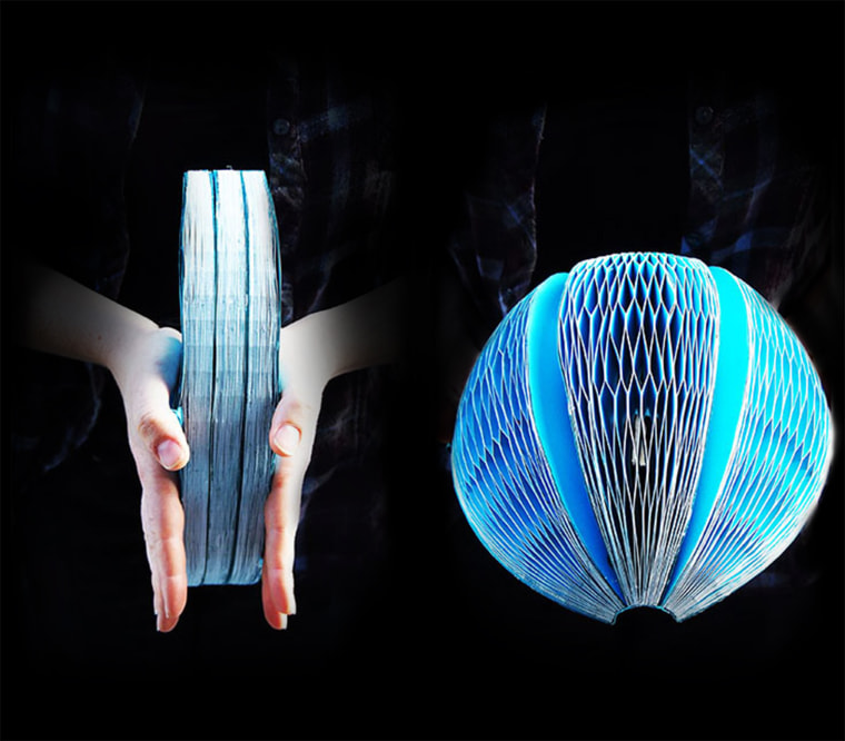 The EcoHelmet is a foldable, recyclable helmet designed to fit in vending machines. Isis Shiffer, the designer of the EcoHelemet, won the U.S. James Dyson Award. The annual award calls on students to create something that will help solve a problem. The EcoHelmet is mate from waterproof recycled paper and has a radial honeycomb pattern designed to absorb shock. Users can unfold it, put it on, clip the straps and be on their way.