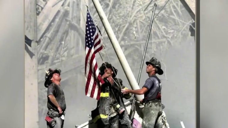 IMAGE: Bergen Record photo of 9/11 flag raising
