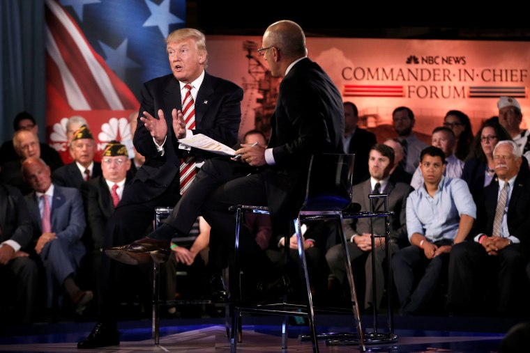 Image: Republican presidential nominee Donald Trump speaks during the Commander in Chief Forum in Manhattan