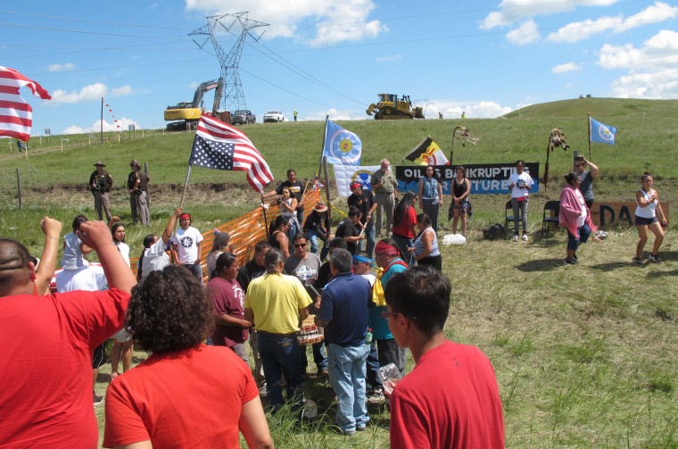 Native Americans protest the Dakota Access oil pipeline on Friday, Aug. 12, 2016, near the Standing Rock Sioux reservation in southern North Dakota.