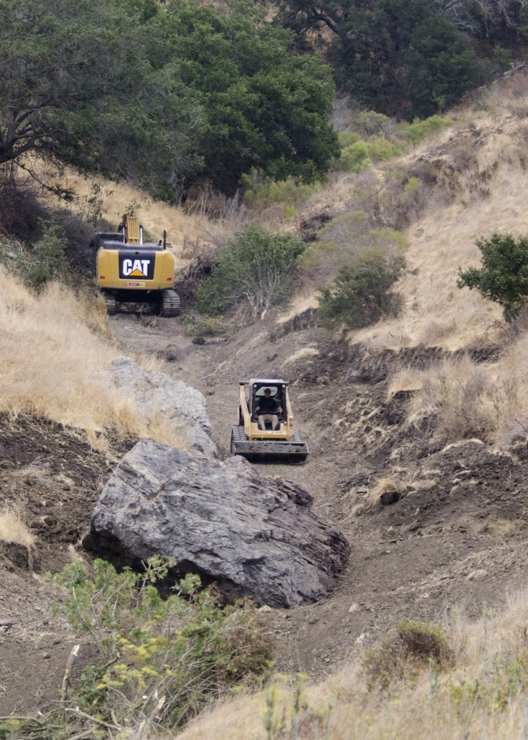 The FBI and San Luis Obispo County Sheriff's Department continue their dig and investigation on the hillside above Cal Poly in connection to the disappearance of student Kristin Smart two decades ago, Sept. 8, in San Luis Obispo, California.