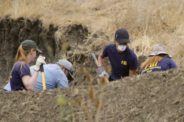 The FBI and San Luis Obispo County Sheriff's Department continue their dig and investigation on the hillside above Cal Poly related to the disappearance of student Kristin Smart two decades ago, Thursday, Sept. 8, 2016 in San Luis Obispo, Calif.