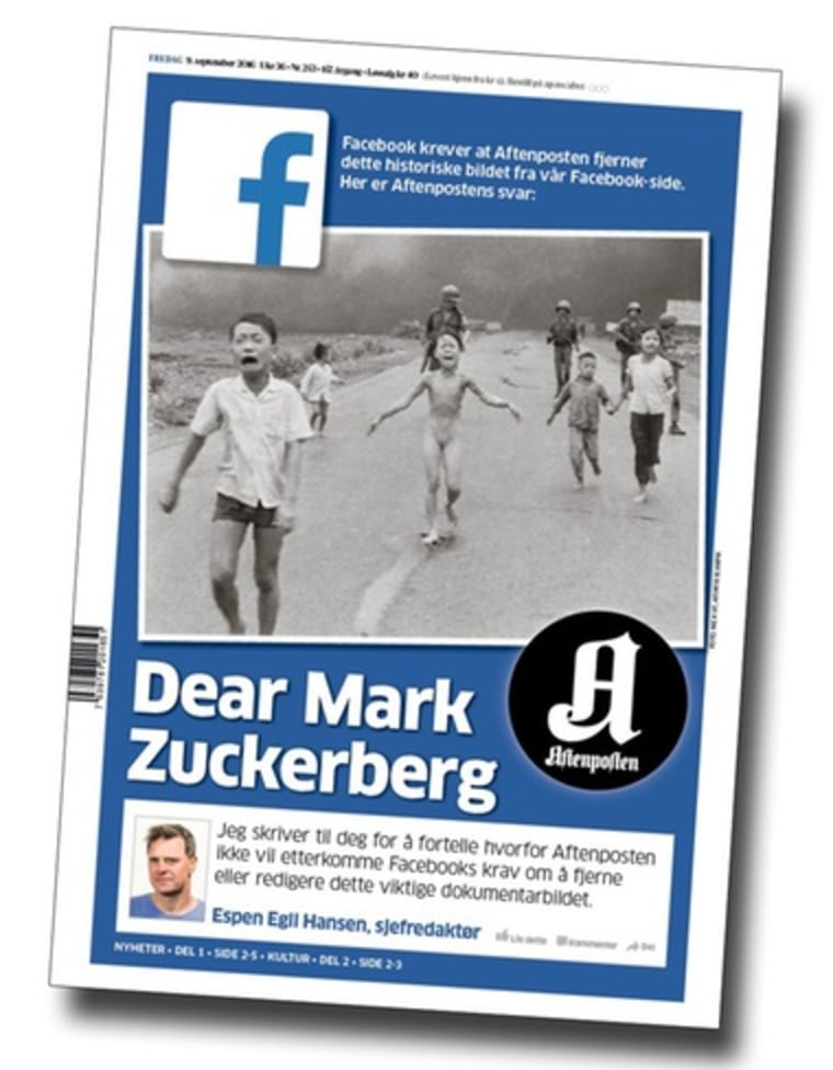 The front page of Norwegian newspaper, Aftenposten, with an open letter to Facebook addressing the social network's censorship of an iconic Vietnam War photo.