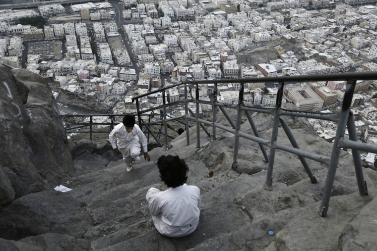 Image: Children from Mecca play atop of of Noor Mountain