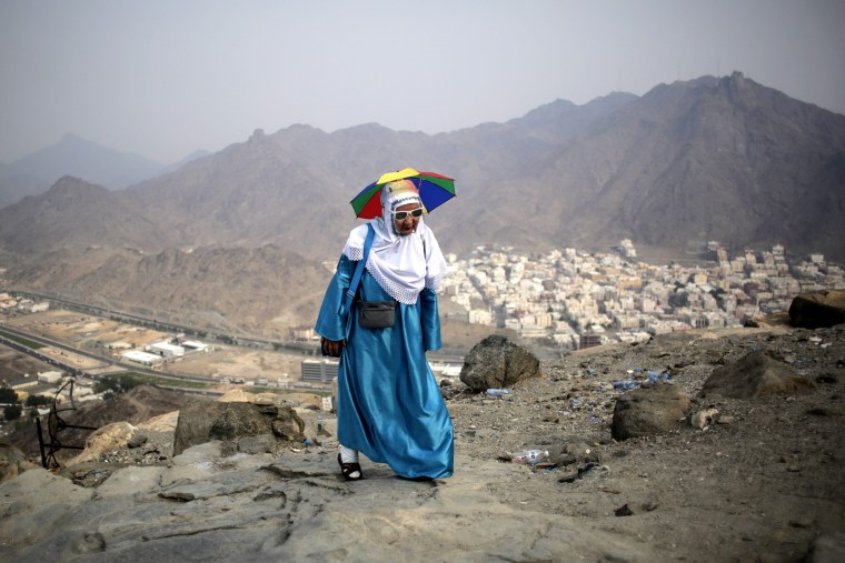 Image: Muslim visits the Hira cave at the Mount Al-Noor ahead of Hajj