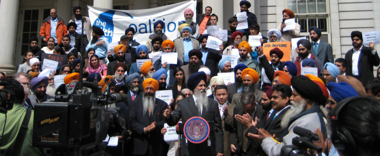 Protesters in New York after a 2008 march organized by The Sikh Coalition raising awareness about two alleged hate crimes against Sikh public school students.