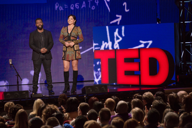 (L-R) Baratunde Thurston and Sara Ramirez speak at TED Talks Live -- Education Revolution, November 1, 2015, The Town Hall, New York City.