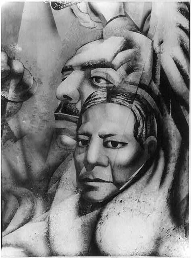 Detail of allegorical David Alfaro Siqueiros mural on upper right section of end wall, showing head and shoulders of man and woman.