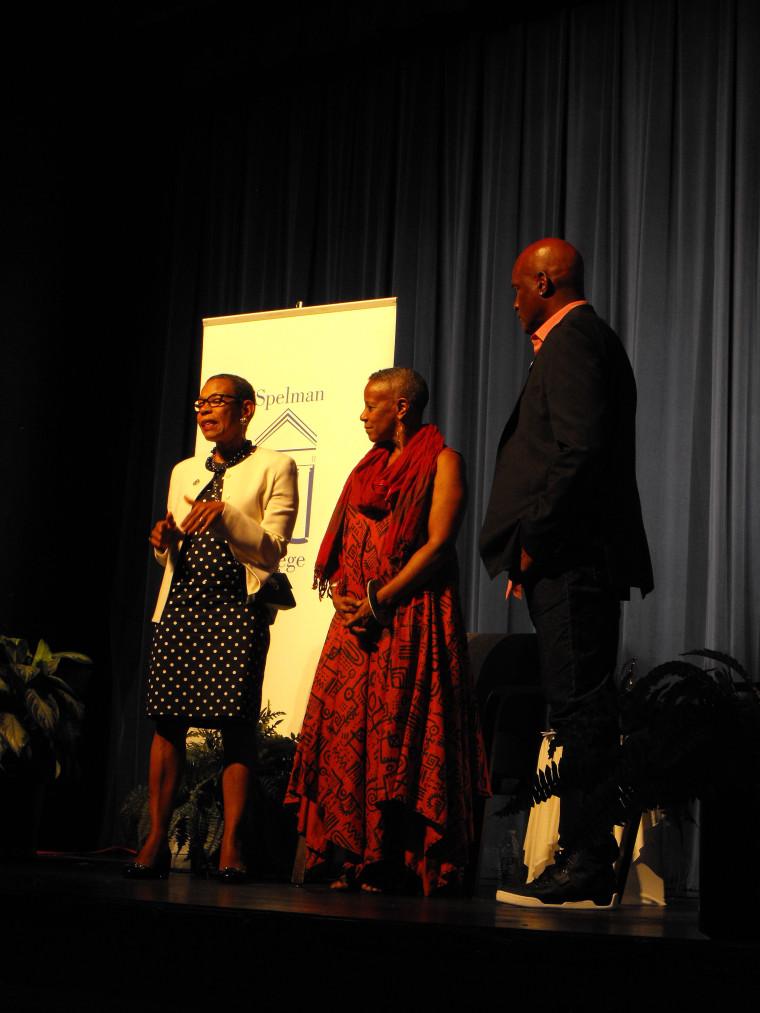 Mary Schmidt Campbell, Spelman College President; Aku Kadogo, drama department chair, Spelman College and Tony Award winning director, Kenny Leon.