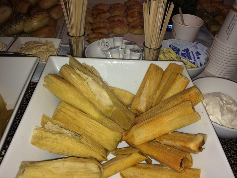 Tamales are served - and called a secret weapon - at a brunch for Latinas who support Hillary Clinton. The event was held Sept. 10, 2016.