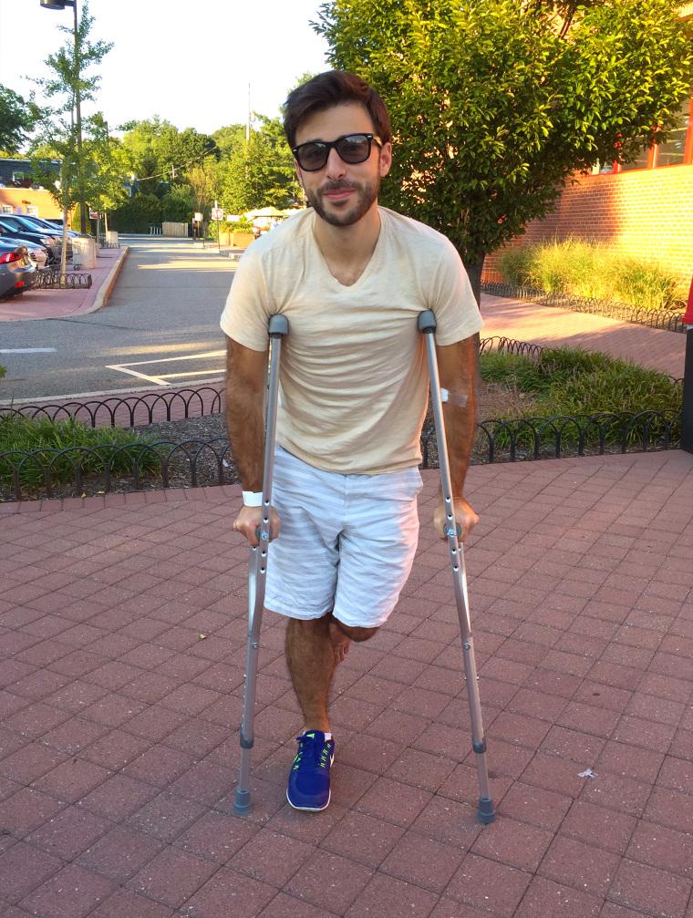 Ian Sager on crutches