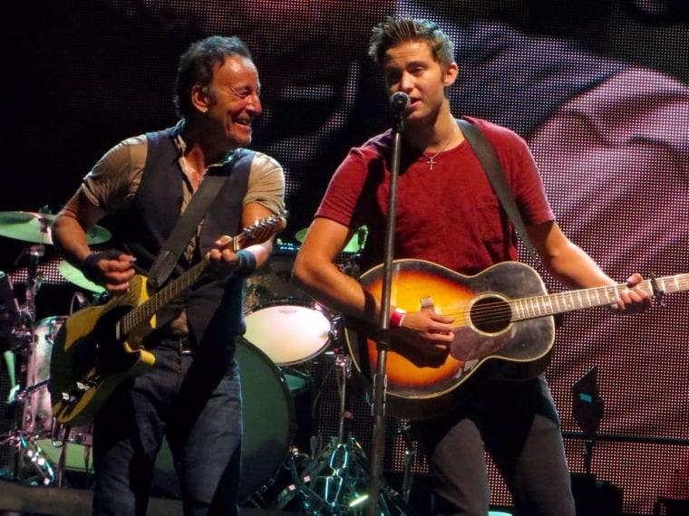 Bruce Springsteen fan on stage for 'No Surrender'