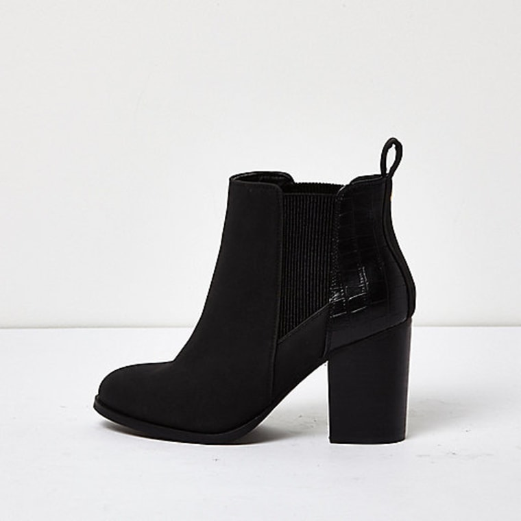River Island Black patent panel heeled Chelsea boots