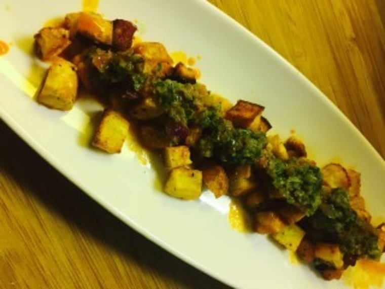 Chimichurri Sauce over Roasted Spiced Pumpkin & Potato