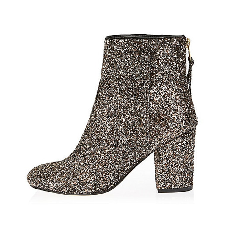 River Island glitter block heel ankle boots