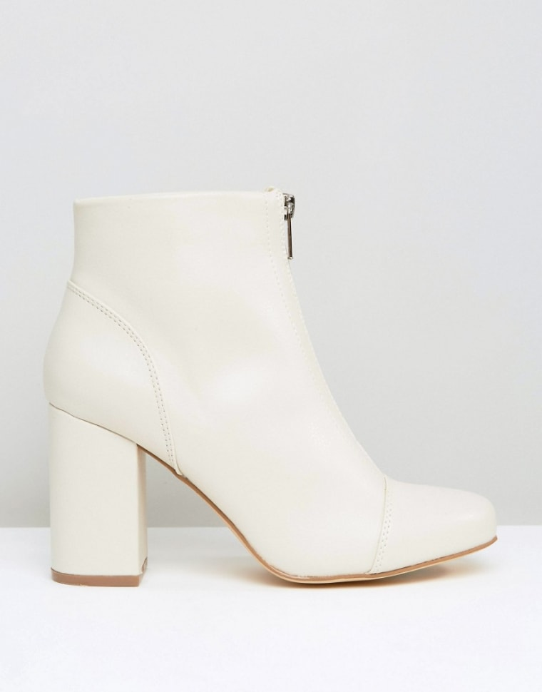 New Look front zip white patent leather ankle boots