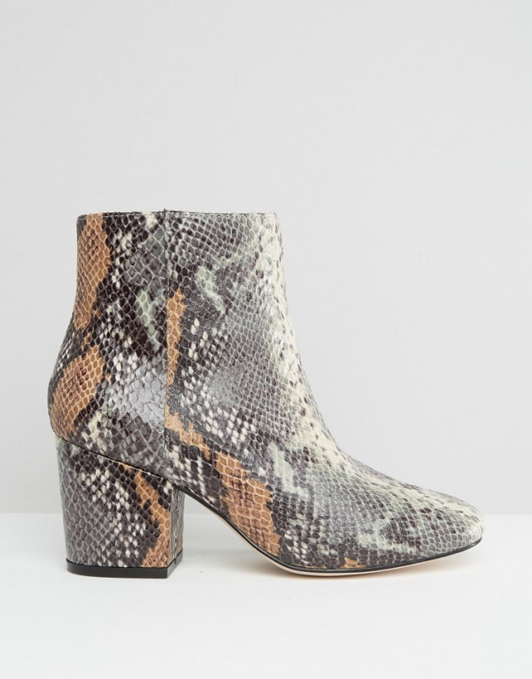ASOS snake print ankle boots