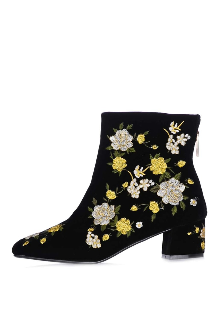 Topshop embroidered ankle boots