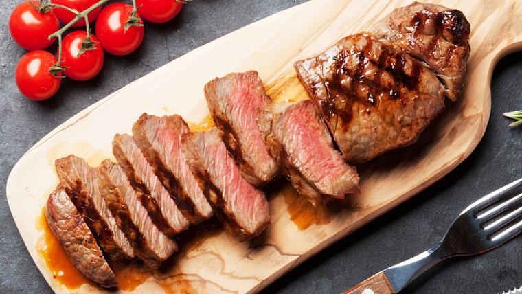 Grilled striploin sliced steak