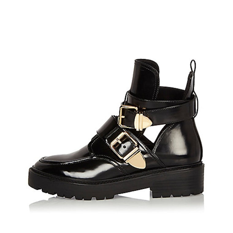 River Island Black Patent Cut-Out Boots