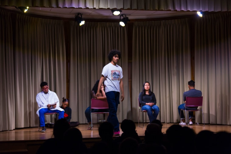 "A scene from one of the stagings of ""Blasian Narratives,"" a theater and online video project exploring the Asian and Black mixed race experience."