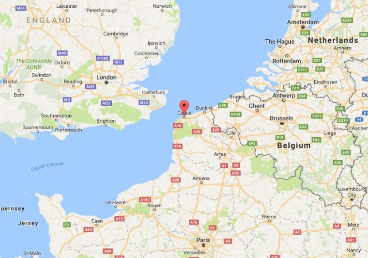 Image: Map showing Calais, France