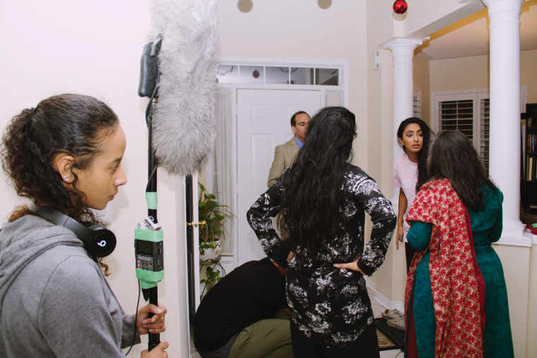 Rakhi Mutta and Kiran Rai on set during the filming of Anarkali along with other cast and crew.