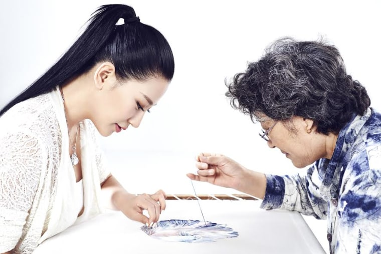 Designer Lan Yu with her mother, who belongs to the fourth generation of women in her family to practice the Su embroidery technique.